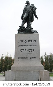 Montreal, Quebec, Canada - Oct. 4, 2018 : Vauquelin statue at Montreal.