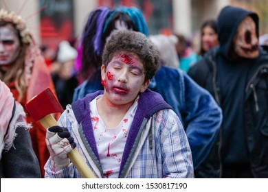 Montreal, Quebec, Canada - October 27, 2018: Zombie parade in Montreal downtown.