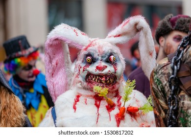 Montreal, Quebec, Canada - October 27, 2018: dead maniac rabbit at Zombie parade in Montreal downtown.