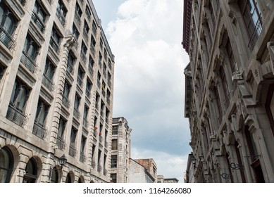Montreal, Quebec, Canada.  Old architecture looking east down Saint Paul Street West in Old Montreal.