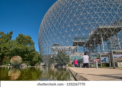 Montreal, Quebec, Canada September 14, 2018: - Biosphere Environmental Museum in Montreal. The Biosphere is a unique and spectacular site, located at Parc Jean-Drapeau in Montreal