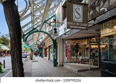 Montreal - Quebec, Canada : September 27, 2018 : Montreal beautiful streets by day in Rosemont district with shops and snow shelter for winter