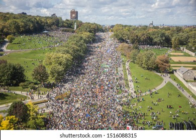 MONTREAL, QUEBEC, CANADA - SEPTEMBER 27, 2019: Hundreds of thousands young people protesting with Greta Thunberg in Montreal Park Avenue, demanding for an action plan to save the planet.