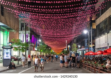 Montreal, Quebec, Canada-June 11, 2017: The Gay Village at night. The famous place located in the downtown district is a famous landmark and tourist attraction