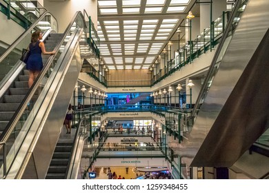 Montreal, Quebec, Canada-May 9, 2018:  The Eaton Centre interior architecture. The shopping mall is one of the most populars commercial centres in the Canadian city