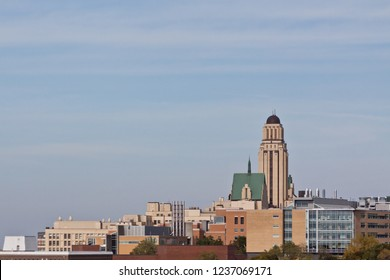 Montreal, Quebec - October 23, 2017 - Horizontal of the tower and buildings at the University of Montreal, on a sunny day in Montreal