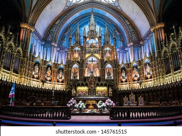 Montreal, Quebec Province, Canada - May 27, 2013: Interior of Notre-Dame Basilica, July 12, 2013. Largest and oldest cathedral in Montreal. The interior took 7 years (from 1872 to 1879) to decorate.