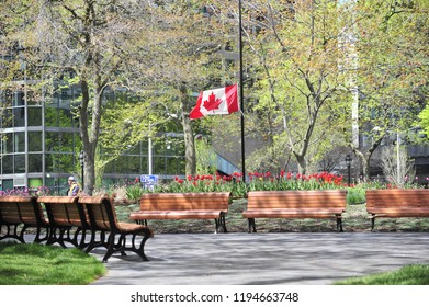 Montreal, Quebec/Canada- 05/18/2016: The flag of Canada is at half mast with red tulips at Place du Canada.