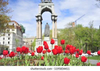 Montreal, Quebec/Canada- 05/18/2016: Place du Canada is blooming with tulips in the spring.