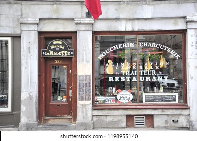 Montreal, Quebec/Canada- 05/19/2018: A historic restaurant in the heart of Old Montreal.