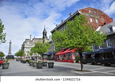 Montreal, Quebec/Canada- 05/19/2018: A look around Place Jacques Cartier, a popular tourist destination in Old Montreal.
