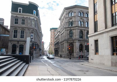 Montreal, Quebec/Canada- 05/23/2016:  Historic buildings, seen here, showcase Old Montreal's colonial architecture.