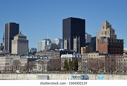 Montreal, Quebec/Canada - April 29, 2019: Panorama of the city from the Old Port