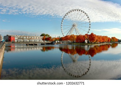 Montreal, Quebec/Canada - October 14, 2018 - Spectacular angle view of the giant ferris wheel in fall, also known as La Grande Roue de Montreal, offers breathtaking 360 degree views of the city