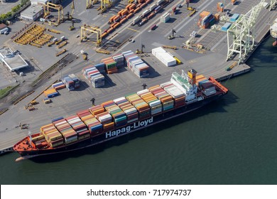 Montreal, September 10, 2017. Aerial view looking at a cargo ship loaded with several containers at the Port of Montreal, Canada.