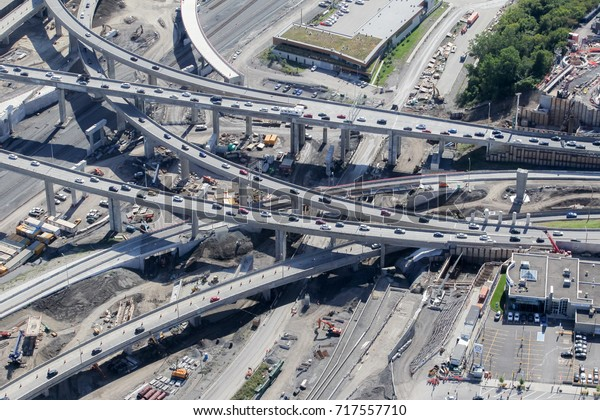 Montreal, September 10, 2017. Aerial view over the Turcot interchange construction project in Montreal. The old interchange is being replaced with a modernized structure that is now 50% completed.