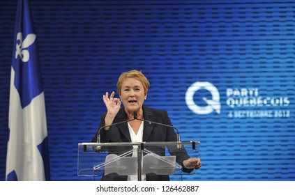 MONTREAL - SEPTEMBER 4: Parti Quebecois Leader Pauline Marois takes the stage after becoming the first female premier in Quebec history, on September 4, 2012 in Montreal, Quebec, Canada.
