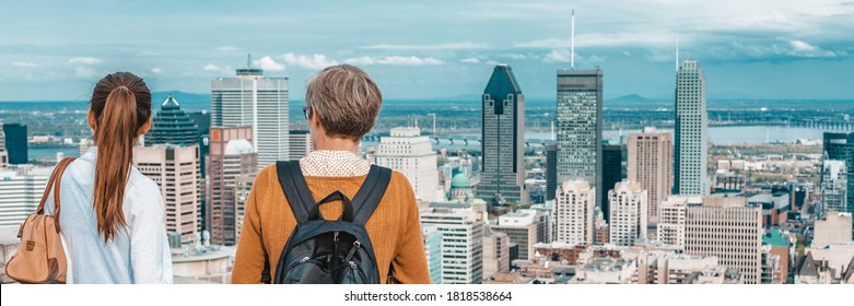 Montreal skyline banner. Panoramic crop of two tourists walking at Mont Royal lookout. People looking at view of Canadian city, Quebec, Canada.