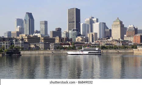 Montreal skyline and boat cruise on Saint Lawrence River, Quebec, Canada
