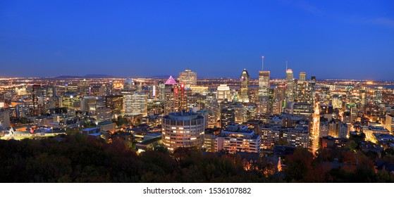 Montreal skyline at dusk, aerial view, Canada