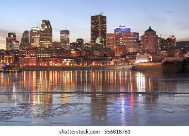 Montreal skyline at dusk in winter, Canada