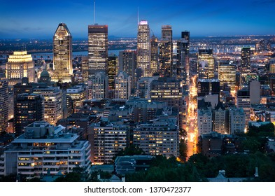 Montreal skyline early in the evening from Mont Royal park, Canada