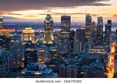 Montreal skyline in the evening, downtown view, Quebec, Canada