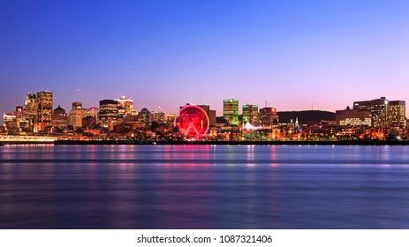 Montreal skyline and Saint Lawrence River at dusk, Canada
