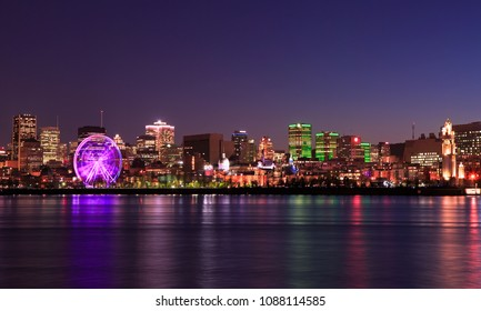 Montreal skyline and Saint Lawrence River at night