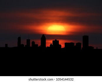 Montreal skyline silhouette with sunset illustration