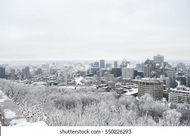 Montreal Skyline in snow, in winter, Canada