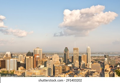 Montreal skyline at sunset in Quebec, Canada