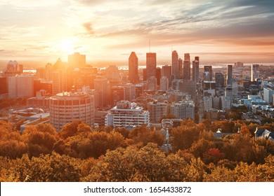 Montreal sunrise city skyline with skyscraper in Canada