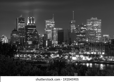 Montreal view from the Jacques Cartier Bridge. Black and White, with little bit numeric noise.