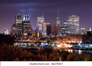 Montreal view from the Jacques Cartier Bridge. (Night Scene)