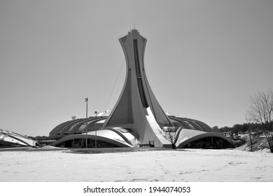 MONTREAL,CANADA 05 07 2020. The Montreal Olympic Stadium tower. It's the tallest inclined tower in the world.Tour Olympique stands 175 meters tall and at a 45-degree angle