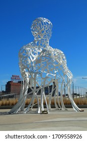 MONTREAL-CANADA, APRIL 20, 2020:  Sculpture made for 375th anniversary of Montreal city. Source represents the wealth of cultures that Montreal has welcomed during more than 4 centuries of existence