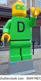 MONTREAL,CANADA AUGUST 08 2015: Lego style sculpture D for democracy by Sayeh Sarfaraz is part of Montreal's annual public art festival Aires Libres
