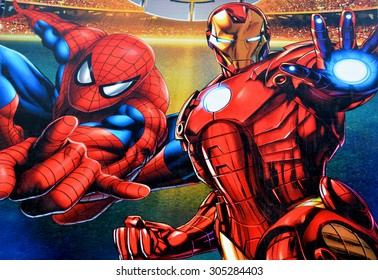 MONTREAL,CANADA AUGUST 08 2015: Sign of Marvel Universe LIVE! on Bell center will captivate audiences with an authentic and original story that brings more than 25 Marvel characters.