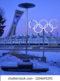 MONTREAL,CANADA  JANUARY 3.The Montreal Olympic Stadium and tower on January 3 , 2014. It's the tallest inclined tower in the world.Tour Olympique stands 175 meters tall and at a 45-degree angle