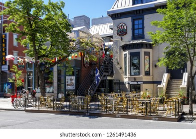 Montreal,Canada - June 25, 2018: Les 3 Brasseurs is a French brewer company specialising in microbrewery and who makes his own beer of the same name on site. They own a  chain in Canada.