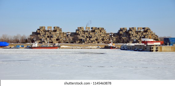 MONTREAL-JAN. 23: A view of Habitat 67 on Jan 23, 2011 in Montreal, Quebec, CA. Habitat 67 is considered a landmark and one of the most recognizable and significant buildings in Montreal and Canada