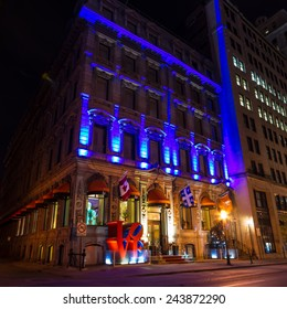 Montreal,Quebec,Canada- November-23-2012: Hotel Love in Old Montreal at Night,  L'Hotel is a historic nineteenth century building in Old Montreal.