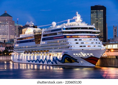 Montreal,Quebec,Canada- September 23 - 2010 : AIDA LUNA cruise ship docked in the port of Montreal. at Dusk  In all the years, this boat comes to visit us in Montreal.