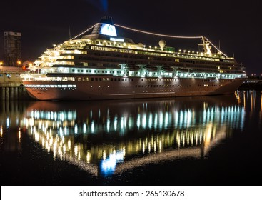 Montreal,Quebec,Canada- September 30 - 2010 : Nassau Crystal Symphony cruise ship docked in the port of Montreal at dusk, all year this boat comes to visit us in Montreal.