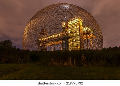 Montreal,Quebec,Canada-August 22-2012 Metallic Structure of Biosphere of Montreal This structure was in 1967 the Pavilion from the United States has the Montreal International Exhibition Yellow.