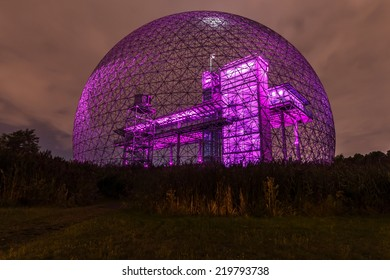Montreal,Quebec,Canada-August 22-2012 Metallic Structure of Biosphere of Montreal This structure was in 1967 the Pavilion from the United States has the Montreal International Exhibition Purple.
