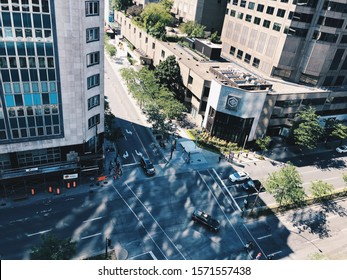 Montreal,Quebec,Canada.July 4th,2019.People walking on Montreal street in downtown Montreal Quebec province Canada.