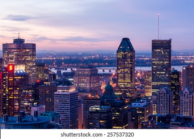 Montreal,Quebec,Canada-June 22-2010: Cityscape of Montreal, view from the mountain of Mont-Royal at Dusk