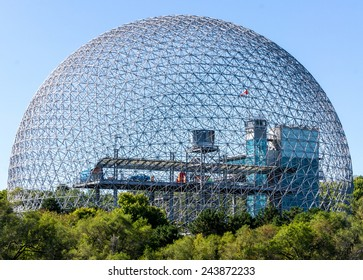 Montreal,Quebec,Canada-September 01-2012 Biosphere of Montreal at Day Light This structure was in 1967 the Pavilion from the United States has the Montreal International Exhibition.
